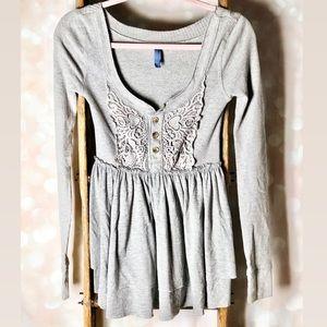 Free People Grey Crochet Knit Long Sleeve Top